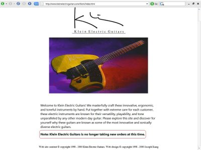 Klein Electric Guitars Home Page