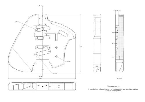 Klein Electric Guitar Copy Plan Drawing