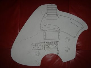 Klein Electric Guitar Build Template Closeup